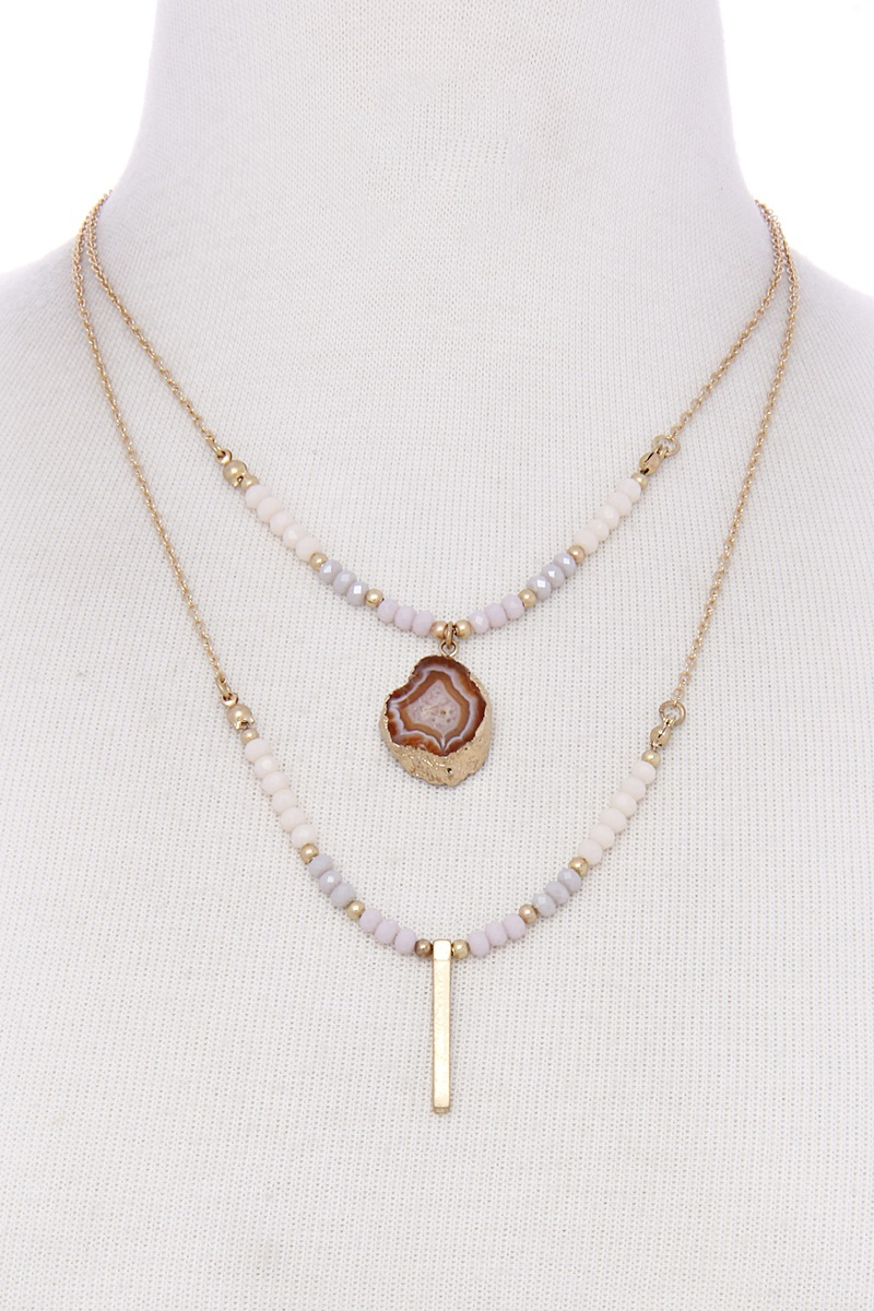 DOUBLE LAYERED STONE NECKLACE WITH M - orangeshine.com