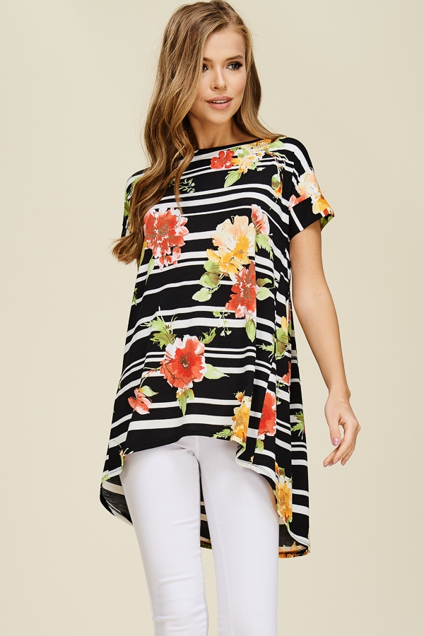 Striped Tunic Top With Floral Accent - orangeshine.com