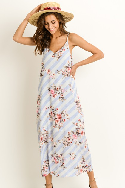 Floral Striped Maxi Dress - orangeshine.com