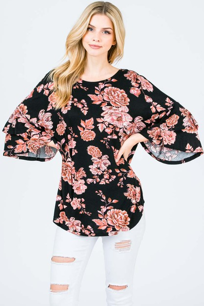 Floral print top with back tie - orangeshine.com