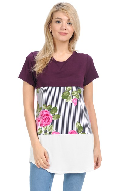 Floral Color Block Top - orangeshine.com
