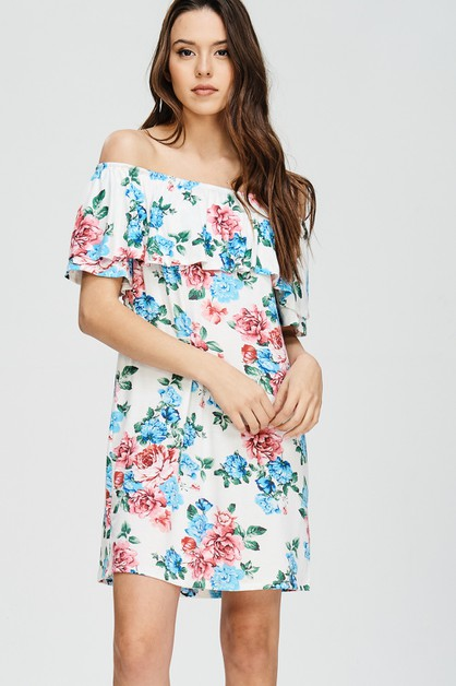 OFF SHOULDER FLORAL DRESS - orangeshine.com