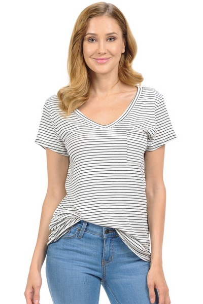 V-NECK STRIPED TOP - orangeshine.com