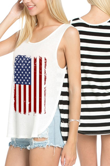 AMERICAN FLAG GRAPHIC STRIPE BACK T - orangeshine.com
