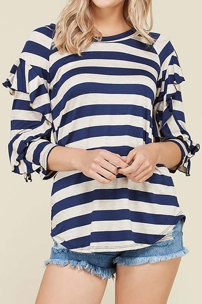 SUPER SOFT STRIPE TUNIC WITH RUFFLE - orangeshine.com