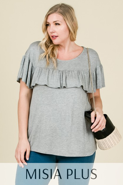 Short sleeve top with front ruffle - orangeshine.com