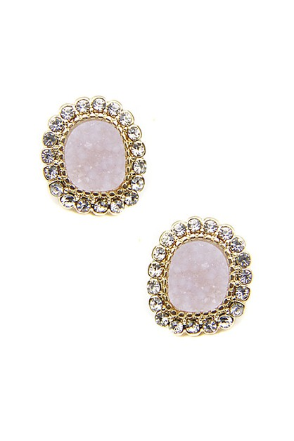 Showy Druzy Stud Earrings - orangeshine.com