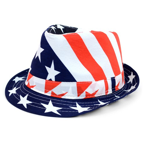 Spring-Summer Stars  Stripes Fedora - orangeshine.com