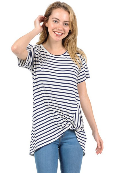 Stripe Side Twist Tunic - orangeshine.com