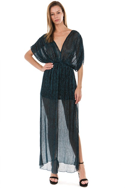 V-NECK SEE THROUGH MAXI DRESS - orangeshine.com