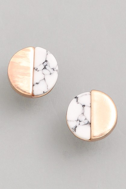 Alabaster Gold Dip Stud Earrings - orangeshine.com