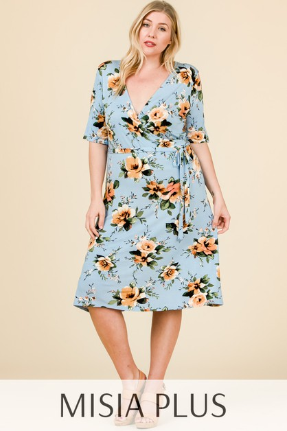 Floral wrap dress - orangeshine.com
