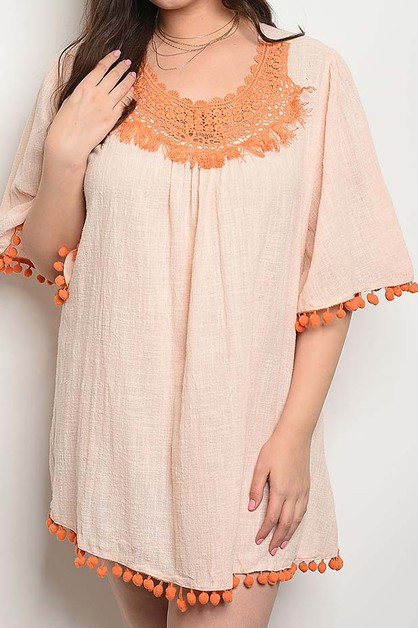 ROUND NECK WITH CROCHET TRIM DRESS - orangeshine.com