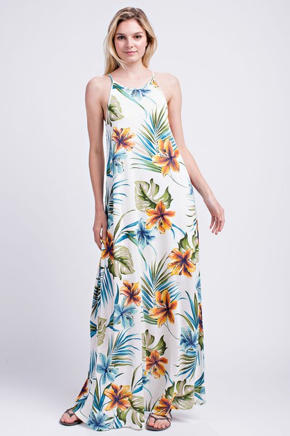 TROPICAL PRINT HALTER MAXI DRESS - orangeshine.com