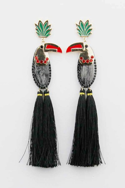 Cartoonish parrot Tassel Earrings - orangeshine.com