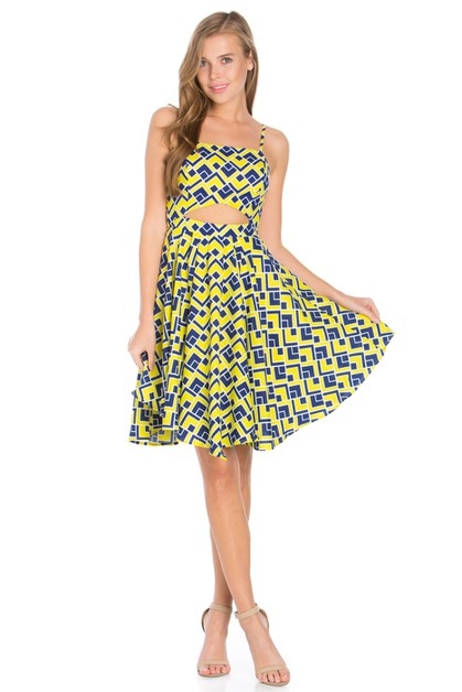 PRINTED FIT AND FLARE DRESS - orangeshine.com