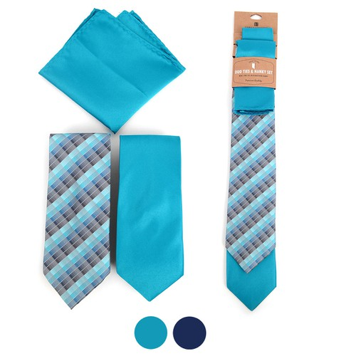 Plaid Two Neckties and Hanky Set  - orangeshine.com