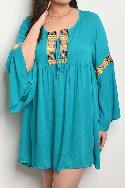 EMBROIDERED BELL SLEEVE BABY DOLL - orangeshine.com
