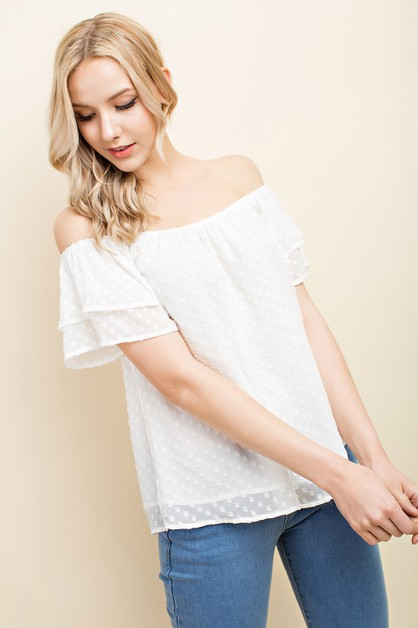 Off Shoulder Tiered Swiss Dot Blouse - orangeshine.com