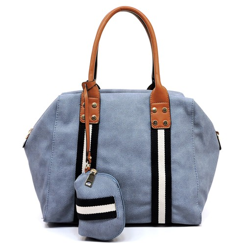 Denim Textured Stripe 2-in-1 Satchel - orangeshine.com