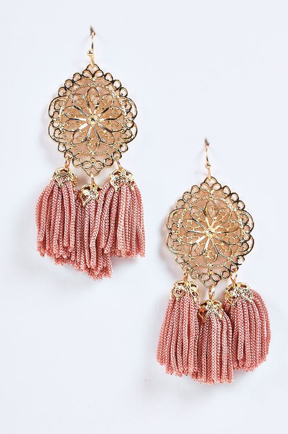 Dangling Filigree Tasseled Earrings - orangeshine.com