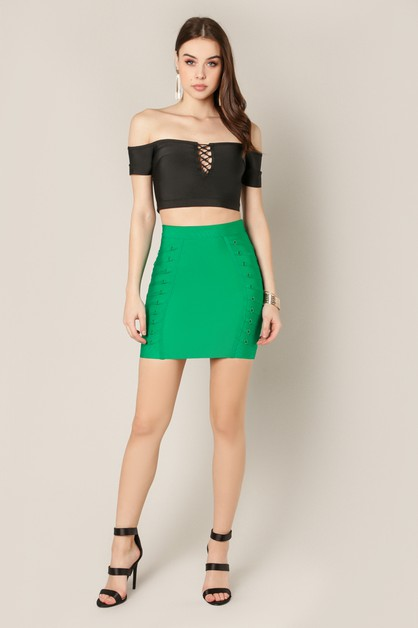 Lace up Mini Bandage Skirt- W Zipper - orangeshine.com