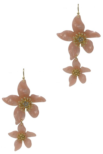 DOUBLE FLOWER DANGLE DROP EARRING  - orangeshine.com