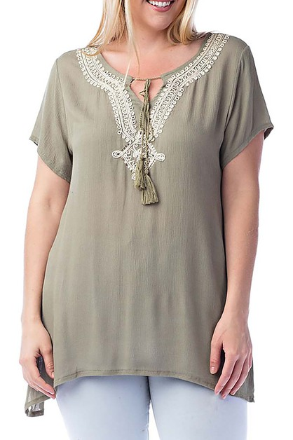 LACE TRIM AND FRINGED PLUS  TUNIC  - orangeshine.com