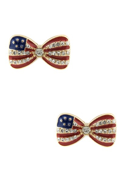 The American flag Ribbon Earrings - orangeshine.com