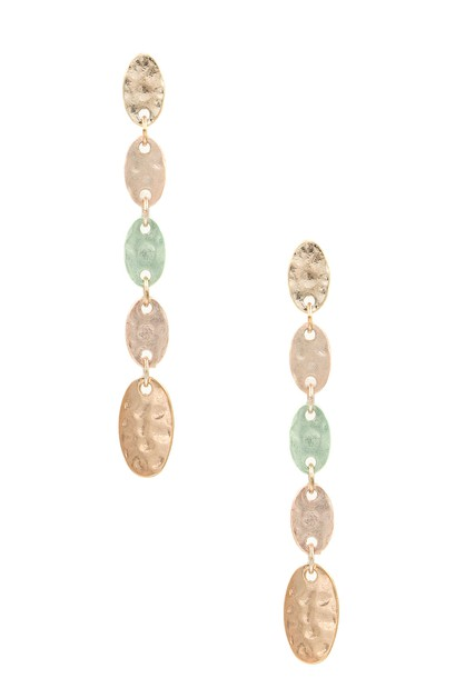 Metal Linked Oval Drop Earrings - orangeshine.com