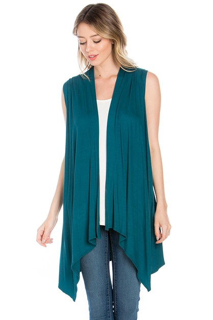 Women Sleeveless Open Front Cardigan - orangeshine.com