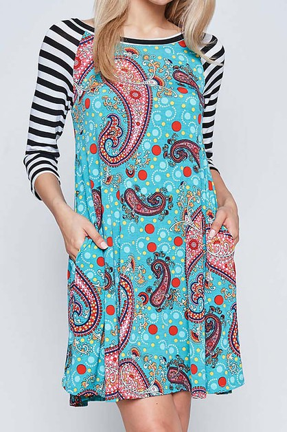 STRIPE SLEEVE W PAISLEY PRINT DRESS - orangeshine.com