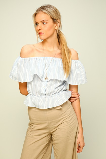 Cropped poplin off-the-shoulder top - orangeshine.com