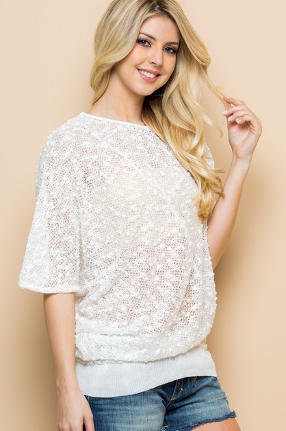 Pom Pom Sequins Knit Top - orangeshine.com