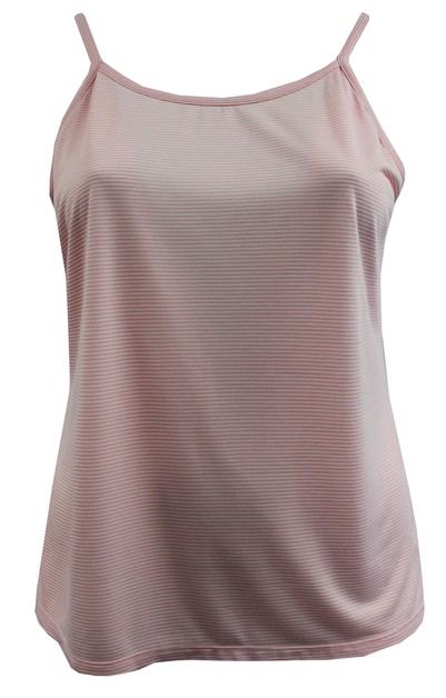 Pink Ivory NonStretch Striped Cami  - orangeshine.com