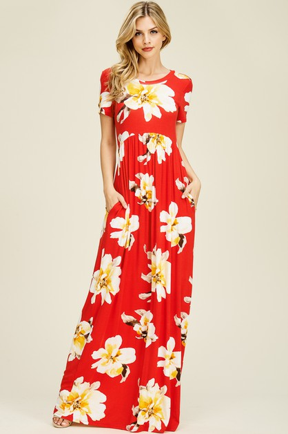Floral Knit Maxi Dress With Pockets - orangeshine.com