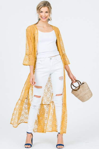 LACE LONG LINE DUSTER CARDIGAN - orangeshine.com
