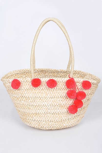 Cute Puff Balls Straw Bag - orangeshine.com