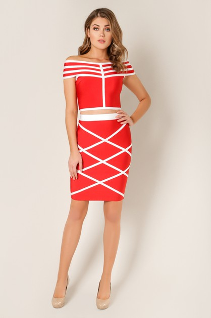 Multi Striped Bandage Skirt - orangeshine.com