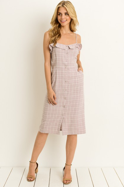Sleeveless Plaid Midi Dress - orangeshine.com