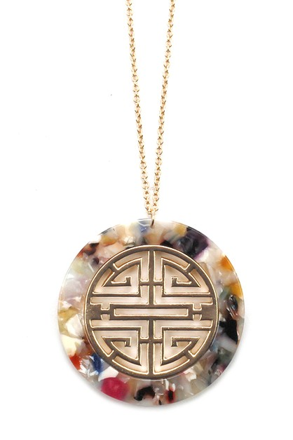 Celluloid Pendant Necklace Set - orangeshine.com