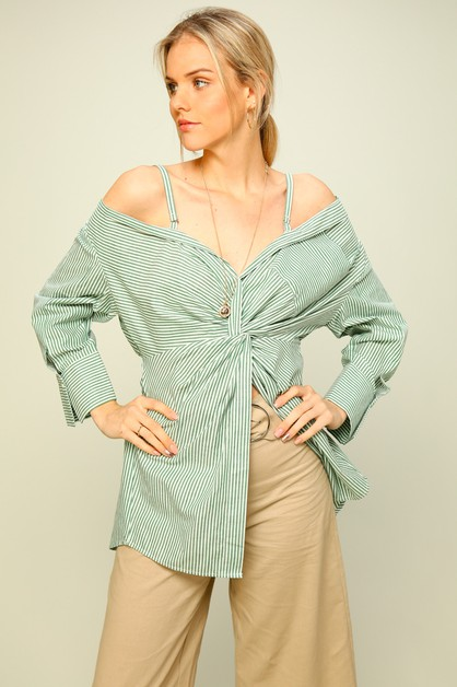 Woven off-the-shoulder top with fron - orangeshine.com