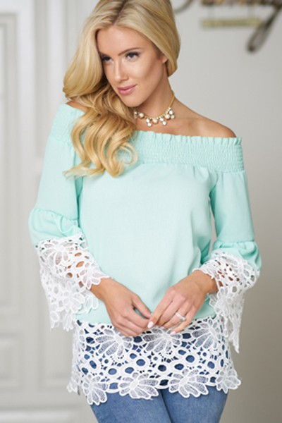 Off Shoulder Long Bell Sleeve Top  - orangeshine.com