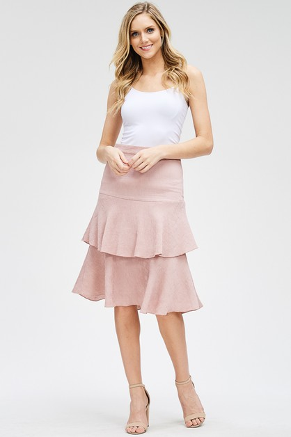 Tiered Ruffle Midi Skirt - orangeshine.com