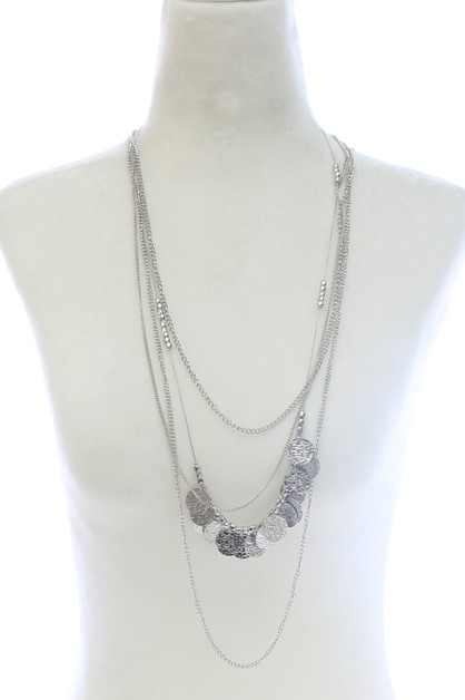 4 ROW LAYERED CHAIN NECKLACE  - orangeshine.com