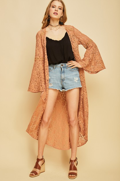 Crochet and lace convertible kimono - orangeshine.com