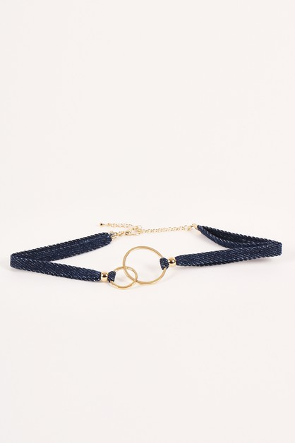 Denim Double Straps Loops Chokers - orangeshine.com