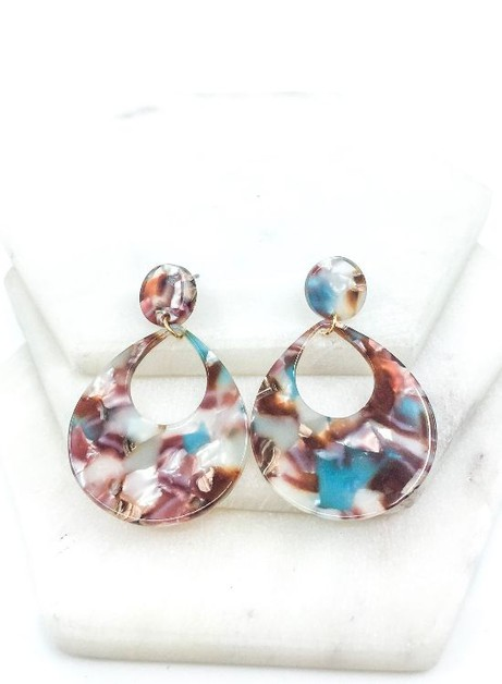 Resin Drop Post Earrings - orangeshine.com