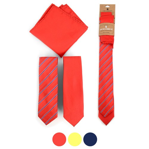 Striped Two Skinny Ties  Hanky Set - orangeshine.com