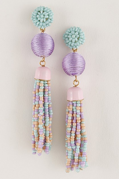 Multi Color Tassel Earrings 7dch1 - orangeshine.com